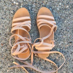 Blush lace up sandals size 7